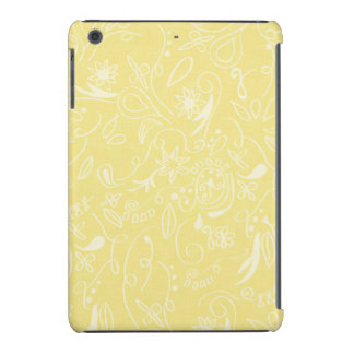 Remolinos florales amarillos claros y blancos funda de iPad mini