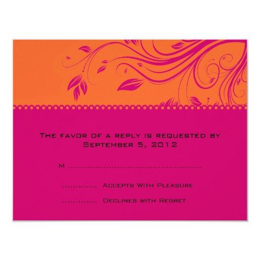 Remolinos florales anaranjados y rosados que casan invitación 10,8 x 13,9 cm