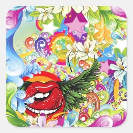 Remolinos florales, arco iris, alas pegatinas cuadradas