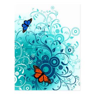 Remolinos florales azules de la primavera moderna tarjetas postales