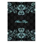 Remolinos florales azules negros y en colores past tarjeta de visita