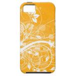 remolinos florales blancos en fondo amarillo iPhone 5 Case-Mate protector