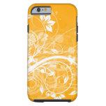 remolinos florales blancos en fondo amarillo funda de iPhone 6 tough