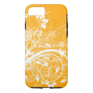 remolinos florales blancos en fondo amarillo funda iPhone 7