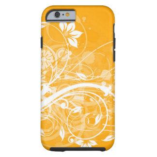 remolinos florales blancos en fondo amarillo funda resistente iPhone 6
