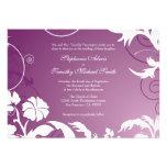 Remolinos florales blancos púrpuras del ciruelo qu invitaciones personalizada