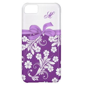 Remolinos florales blancos púrpuras del monograma funda para iPhone 5C