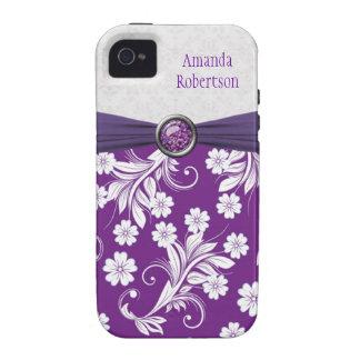 Remolinos florales blancos púrpuras del monograma iPhone 4 funda