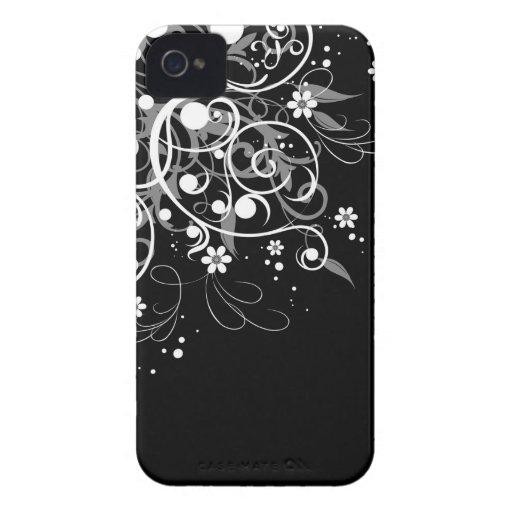 Remolinos florales blancos y negros iPhone 4 cárcasa