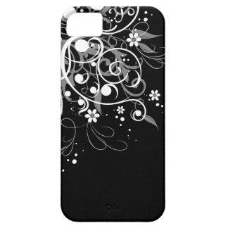 Remolinos florales blancos y negros funda para iPhone SE/5/5s