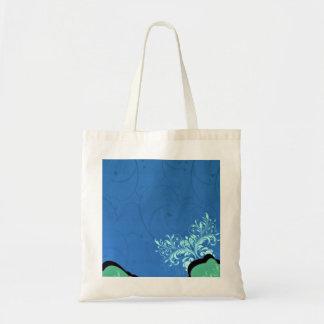 Remolinos florales de la aclaración y negros azula bolsa