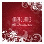 Remolinos florales del boda elegante rojos comunicados personales