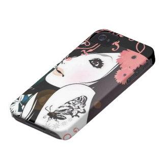 Remolinos florales del chica de la mariposa iPhone 4 carcasas
