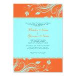 Remolinos florales del naranja y del trullo que invitación 12,7 x 17,8 cm
