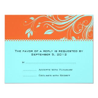 """Remolinos florales del naranja y del trullo que invitación 4.25"""" x 5.5"""""""