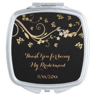 Remolinos florales del oro elegante, espejo espejo para el bolso