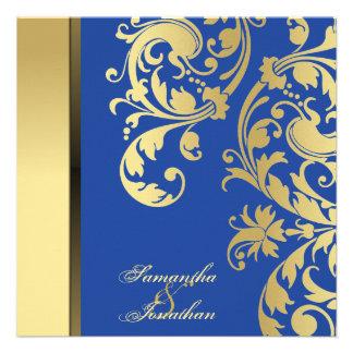 Remolinos florales del reflejo azul del oro de la