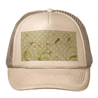 Remolinos florales del verde y del moreno en model gorras de camionero