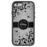 Remolinos florales negros de plata funda de iPhone 6 tough xtreme