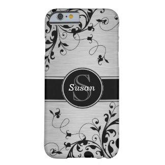 Remolinos florales negros de plata funda de iPhone 6 barely there