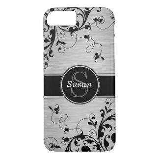 Remolinos florales negros de plata funda iPhone 7