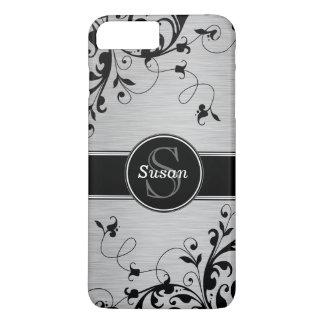 Remolinos florales negros de plata funda iPhone 7 plus