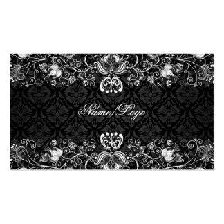 Remolinos florales negros y blancos elegantes plantillas de tarjetas de visita