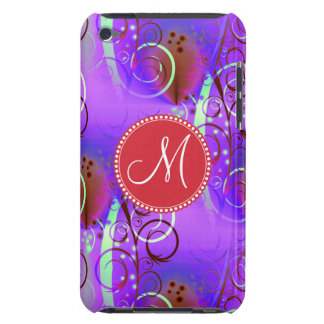 Remolinos florales púrpuras iniciales de encargo d iPod touch cárcasa