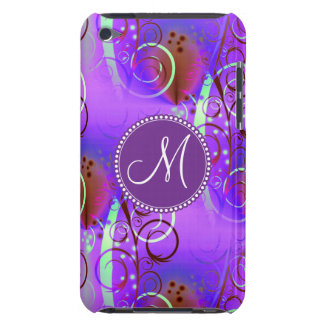 Remolinos florales púrpuras iniciales de encargo d barely there iPod protector