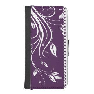 Remolinos florales púrpuras y blancos funda tipo billetera para iPhone 5