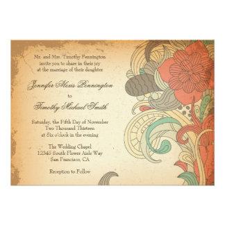 Remolinos florales rojo marrón del vintage que cas comunicado personalizado