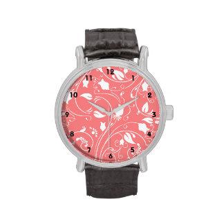Remolinos florales rosados coralinos elegantes Fl