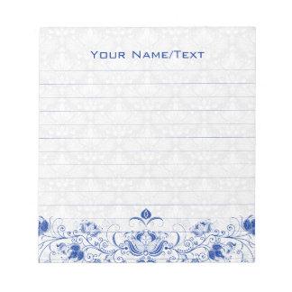 Remolinos florales y damascos del vintage del azul libretas para notas