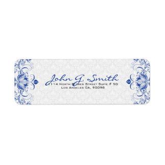 Remolinos florales y damascos del vintage del azul etiquetas de remite