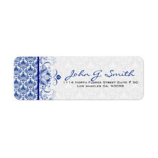Remolinos florales y damascos del vintage del azul etiqueta de remite