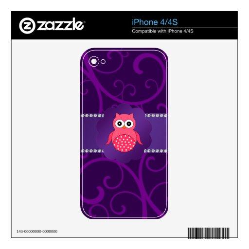 Remolinos lindos de la púrpura del búho skin para el iPhone 4S