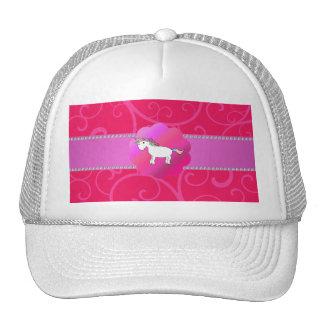 Remolinos lindos del rosa del unicornio gorros bordados