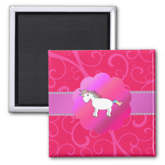 Remolinos lindos del rosa del unicornio imán cuadrado