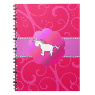 Remolinos lindos del rosa del unicornio libreta
