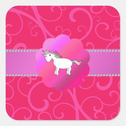Remolinos lindos del rosa del unicornio colcomanias cuadradases