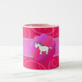 Remolinos lindos del rosa del unicornio taza de café de dos colores