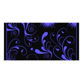 remolinos negros del azul tarjetas personales con fotos
