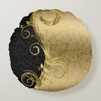 Remolinos negros elegantes del oro de los damascos cojín redondo
