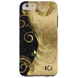 Remolinos negros elegantes del oro de los damascos funda de iPhone 6 plus tough