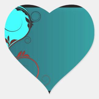 Remolinos negros y rojizos elegantes pegatina en forma de corazón