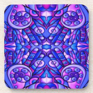 Remolinos psicodélicos azules y púrpuras posavasos de bebida