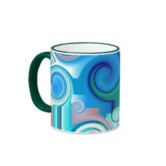 Remolinos púrpuras del azul taza de dos colores