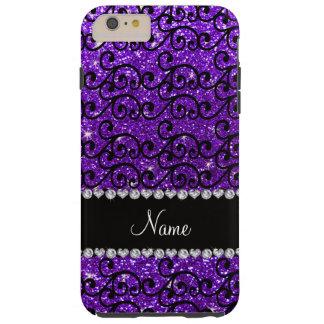 Remolinos púrpuras del brillo del añil negro funda resistente iPhone 6 plus