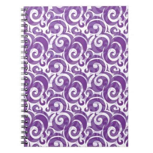 Remolinos púrpuras libreta espiral