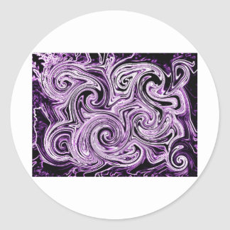 Remolinos púrpuras pegatinas redondas